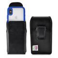 Tough Defense Combo for iPhone X & XS, Blu/Clr Drop Test Case + Vertical Pouch, Leather Clip