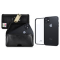 Hybrid Case Combo for iPhone 11 6.1, Clear/Black Case + Horizontal Leather Pouch, Metal Clip