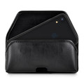 Hybrid Case Combo for iPhone XR 6.1, Clear/Black Case + Horizontal Leather Pouch and Clip