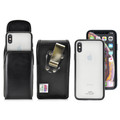 Hybrid Case Combo for iPhone X & XS, Clear/Black Case + Vertical Leather Pouch, Metal Clip