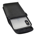 Hybrid Case Combo for iPhone X & XS, Clear/Black Case + Vertical Nylon Pouch, Metal Clip
