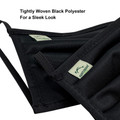Face Mask Black Washable Reusable, Cotton Pocket, 2 Ply, Nose Seal, Adjustable Ear Loops (set of 2)
