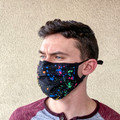 Face Mask in Paint Ball Print Washable Reusable, Cotton Pocket, 2 Ply, Nose Seal, Adjustable Ear Loops (set of 2)