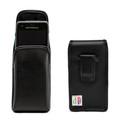 Motorola Lex L11 Vertical Belt Holster Case Black Leather Pouch with Executive Belt Clip
