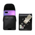 Samsung Galaxy Z Flip Vertical Belt Holster Case Black Leather Pouch with Executive Belt Clip