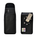 iPhone 12 Mini  Belt Case Vertical Holster Black Leather Pouch Heavy Duty Rotating Belt Clip