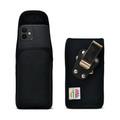iPhone 12 Mini  Belt Clip Vertical Holster Case Black Nylon Pouch Heavy Duty Rotating Clip