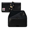 iPhone 12 Pro Max Belt Case Horizontal Holster Black Leather Pouch Heavy Duty Rotating Clip
