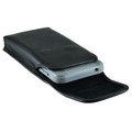 Droid Turbo 2 Leather Vertical Holster Black Clip Fits Bulk Cases