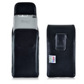 Galaxy Note 5 Vertical Leather Holster for Otterbox DEFENDER Case Black Clip and Fits Bulk Cases