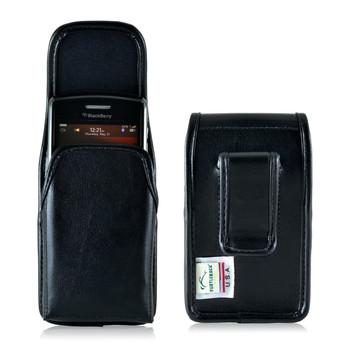 Blackberry Q10 9900 9600 Leather Holster, Black Belt Clip