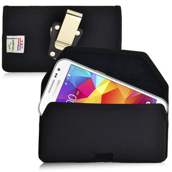 Galaxy Core Prime Nylon Black Holster Case, Metal Belt Clip