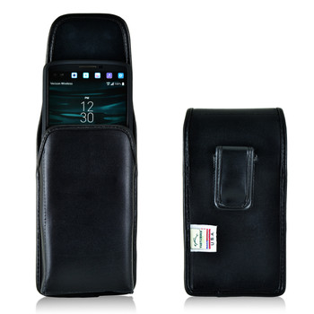 LG V10 Vertical Leather Holster Case Black Belt Clip