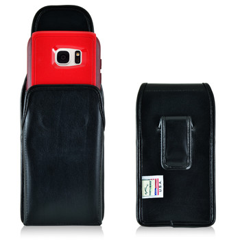 Galaxy S7 Edge Extended Vertical Leather Fixed Clip Holster Fits Otterbox Commuter