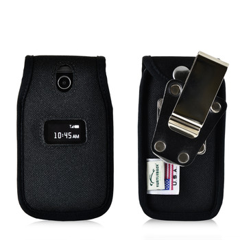 ZTE Cymbal Z320  Flip Phone Case Black NYLON Belt Fitted Case Metal Removable Rotating Belt Clip