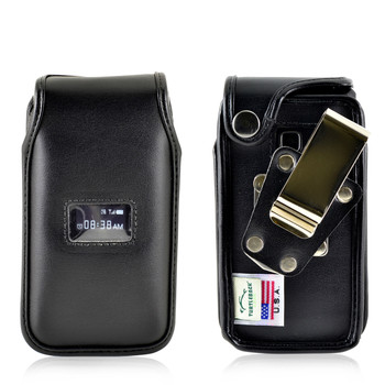 TracFone ZTE Cymbal T Flip Phone Fitted Case Black Leather Metal Clip