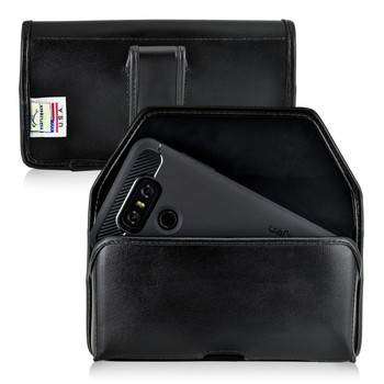 LG G6 Leather Holster Case Black Belt Clip