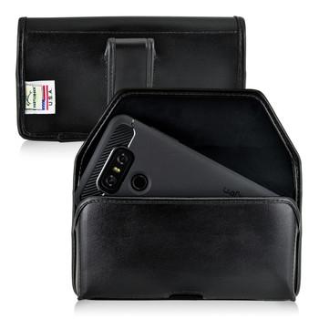 LG G6 Leather Holster Case Black Belt Clip