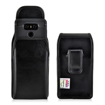 LG G6 Leather Vertical Holster Case Black Belt Clip