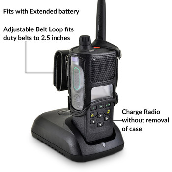 Motorola APX 4000 Holder | Single Knob | Extended Battery  | Leather Fits Duty Belts