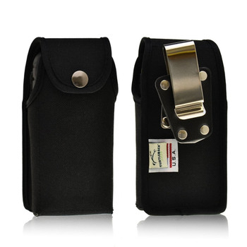 Sonim XP5560 BOLT 2 / XP5560 IS BOLT 2 Vertical Black Nylon Snap Closure Holster Pouch with Rotating removable Metal Belt Clip