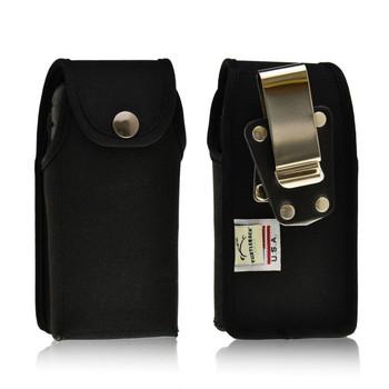Sonim XP1520SL / XP1300 / XP3300 Vertical Black Nylon Snap Closure Holster Pouch Rotating removable Metal Belt Clip