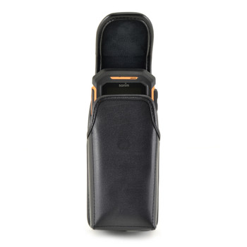 Sonim XP Strike / XP Strike IS Vertical Black Leather Holster Pouch with Rotating removable Metal Belt Clip & Magnetic Closure