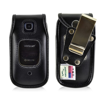 Kyocera Cadence Flip Phone Case Black Leather Metal Clip