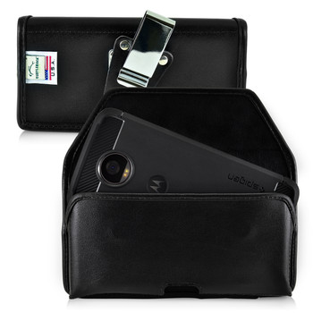 Motorola Moto Z2 Play Holster Metal Clip Case Pouch Leather