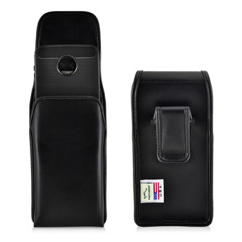 Motorola Moto Z2 Force Holster Black Clip Case Pouch Leather Vertical