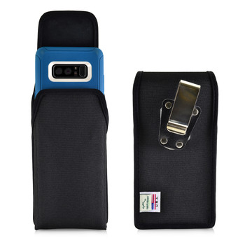 Galaxy Note 8 Vertical Nylon Holster for Otterbox DEFENDER Case Metal Clip and Fits Bulk Cases