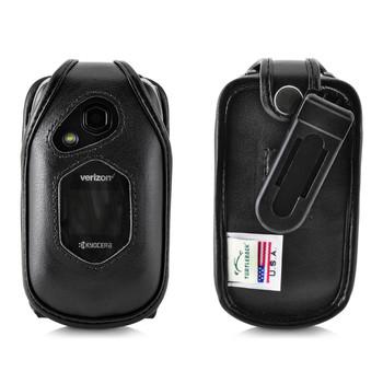 Kyocera DuraXV LTE Verizon E4610 Flip Phone FITTED CASE Black Leather Plastic Ratcheting Removable Belt Clip