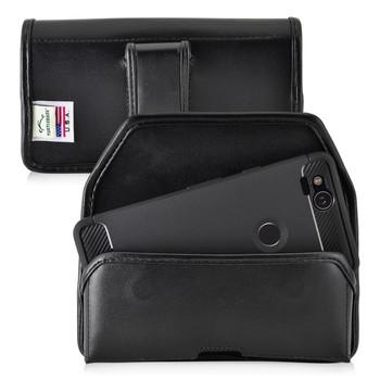 Google Pixel 2 Belt Case Fits Slim Case Black Leather Executive Belt Clip