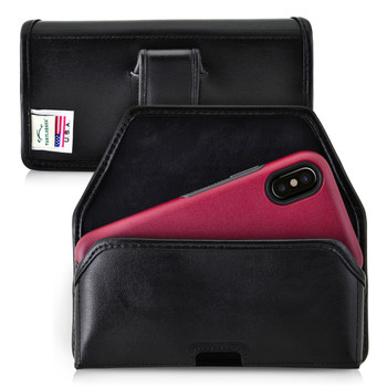 iPhone 11 Pro, XS & X fits w/ OTTERBOX COMMUTER SYMMETRY case Black Belt Case Leather Pouch with Executive Belt Clip Horizontal Made in USA