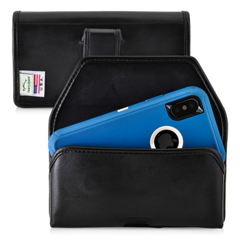 iPhone 11 Pro, XS & X w/ Otterbox DEFENDER case Black Belt Case Leather Pouch with Executive Belt Clip Horizontal Made in USA