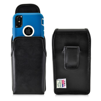 iPhone 11 Pro, XS & X w/ Otterbox DEFENDER case Black Vertical Belt Case Leather Pouch with Executive Belt Clip Made in USA