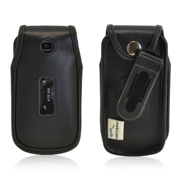 Alcatel 768 Executive Black Leather Case Phone Case with Ratcheting Belt Clip