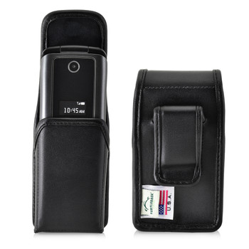 ZTE Cymbal Z320 Black LEATHER Magnetic Closure Case Executive Belt Clip