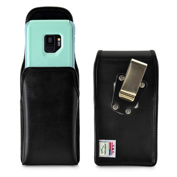 Galaxy S9 Vertical Belt Case for Otterbox COMMUTER Case Rotating Belt Clip Black Leather Pouch