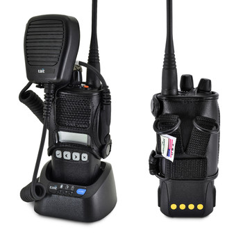 TAIT TP8100 Radio with D Rings Attachment Fire and Police Two Way Radio Belt Case Black Leather with Heavy Duty D Rings