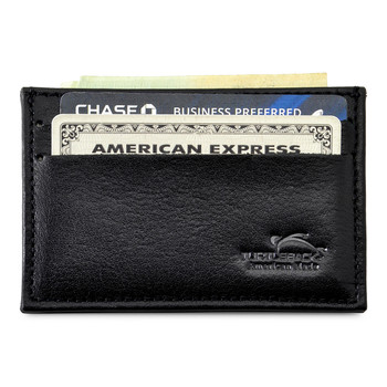 Front Pocket Wallet Minimalist Slim Card Holder with RFID Blocking Thin Genuine BLACK Leather