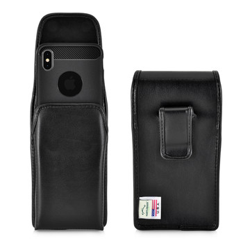 iPhone 11 Pro Max (2019) & XS MAX (2018) Belt Case Vertical Holster Black Leather Pouch Executive Belt Clip