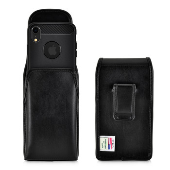 iPhone XR Case (Fits iPhone 11) Black Vertical Belt Holster With Leather Pouch & Executive Belt Clip