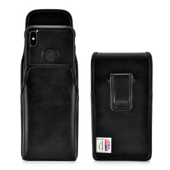 iPhone 11 Pro Max (2019) / XS Max (2018) Fits with OTTERBOX COMMUTER, Vertical Belt Case Black Leather Pouch with Executive Belt Clip, Made in USA