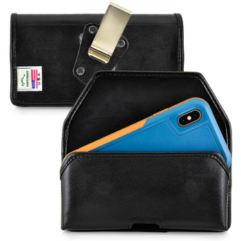 iPhone XS (2018) Fits with OTTERBOX PURSUIT Black Leather Holster Pouch Rotating Belt Clip Horizontal