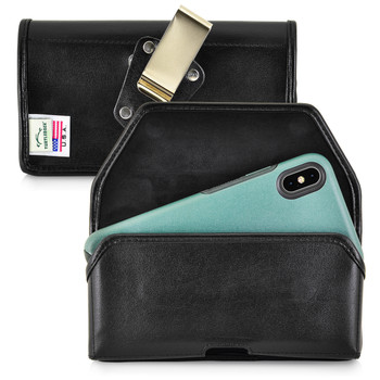 Turtleback Belt Case Designed for iPhone 11 Pro Max (2019) / XS Max (2018) with OTTERBOX SYMMETRY, Black Leather Holster Pouch with Heavy Duty Rotating Belt Clip, Horizontal Made in USA