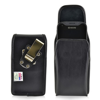 Kyocera DuraForce PRO Holster Metal Clip Case Pouch Leather Vertical Turtleback