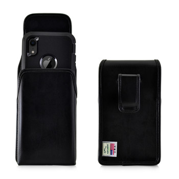 iPhone 11 (2019) & XR (2018) Fits with OTTERBOX DEFENDER, Vertical Belt Case Black Leather Pouch with Executive Belt Clip, Made in USA