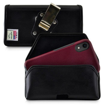 Turtleback Belt Case Designed for iPhone 11 (2019) & XR (2018) Fits with OTTERBOX SYMMETRY, Black Leather Holster Pouch with Heavy Duty Rotating Belt Clip, Horizontal Made in USA