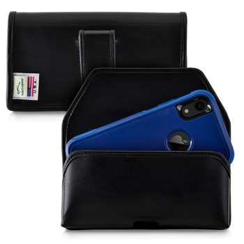 iPhone 11 (2019) & XR (2018) Fits with OTTERBOX COMMUTER, Black Leather Belt Case Pouch with Executive Belt Clip, Horizontal Made in USA